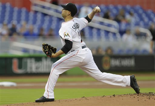 Miami Marlins starter Alex Sanabia pitches to the Chicago Cubs during the first inning of a baseball game in Miami, Saturday, April 27, 2013. (AP Photo/J Pat Carter)