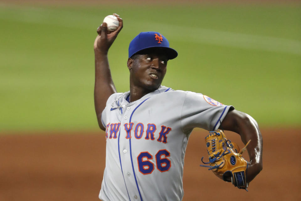 New York Mets relief pitcher Franklyn Kilome works in the sixth inning of the team's baseball game against the Atlanta Braves on Saturday, Aug. 1, 2020, in Atlanta. (AP Photo/John Bazemore)