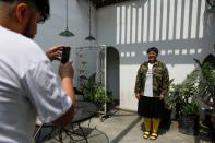 An Indonesian artist Ika Vantianti poses for pictures in Jakarta