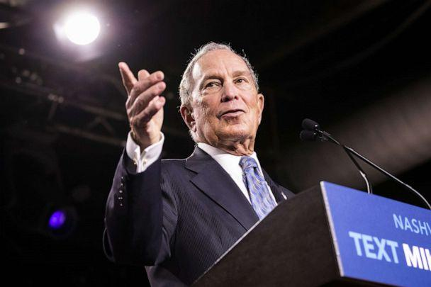 PHOTO: Democratic presidential candidate former New York City Mayor Mike Bloomberg delivers remarks during a campaign rally on Feb. 12, 2020, in Nashville, Tenn. (Brett Carlsen/Getty Images, FILE)
