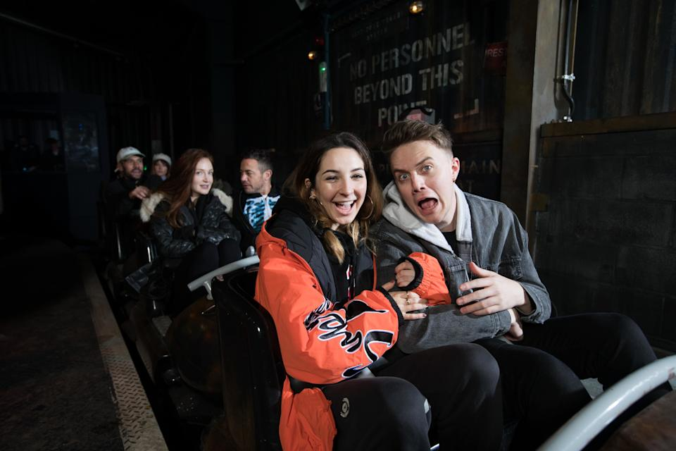 EDITORIAL USE ONLY Roman Kemp experiences The Walking Dead: The Ride, at THORPE PARK Resort in Surrey.