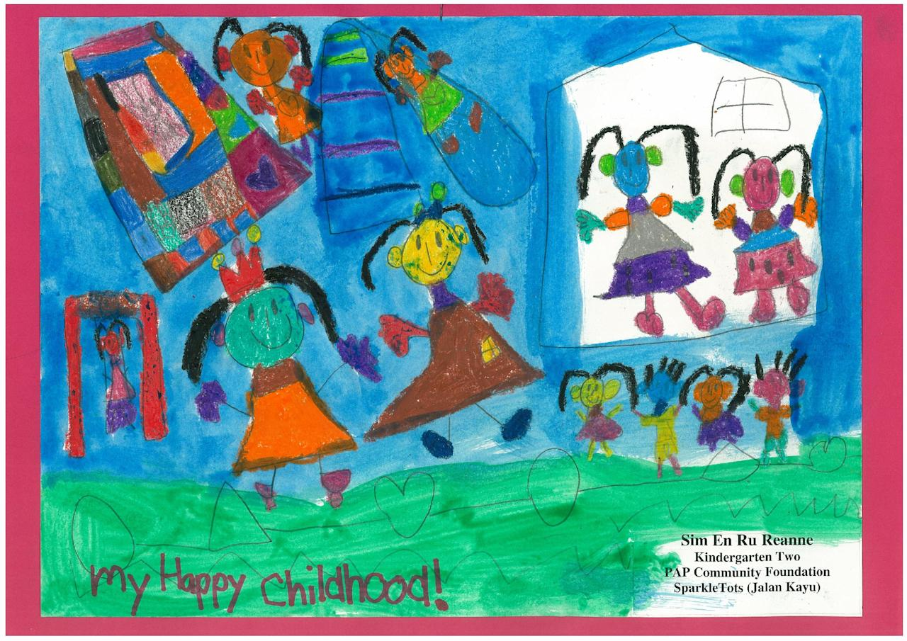 Reanne Sim, 6, draws a picture of herself in different happy moments of her childhood. (PAP Community Foundation – Sparkletots)