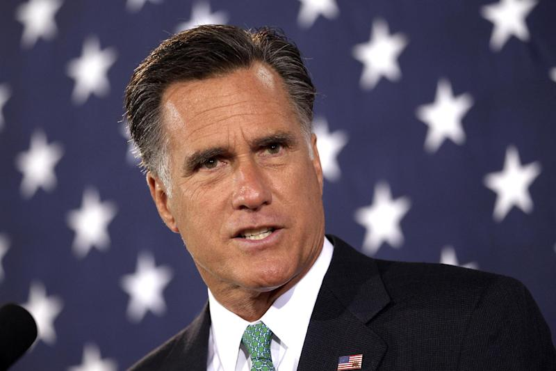 Republican presidential candidate, former Massachusetts Gov. Mitt Romney addresses supporters during a campaign stop in Charlotte, N.C., Wednesday, April 18, 2012. (AP Photo/Jae C. Hong)
