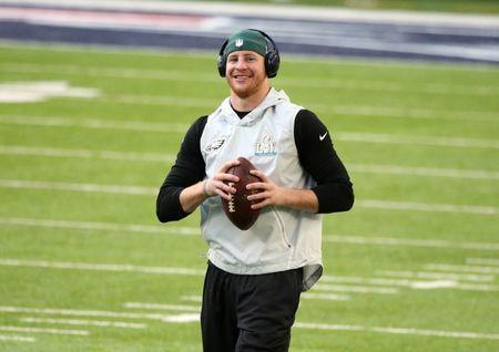Feb 4, 2018; Minneapolis, MN, USA; Philadelphia Eagles quarterback Carson Wentz on the field prior to Super Bowl LII against the New England Patriots at U.S. Bank Stadium. Mandatory Credit: Charles LeClaire-USA TODAY Sports