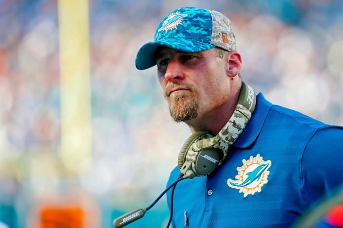 Miami Dolphins interim head coach Dan Campbell during a loss to the Dallas Cowboys, Nov. 22, 2015 in Miami Gardens, Fla.