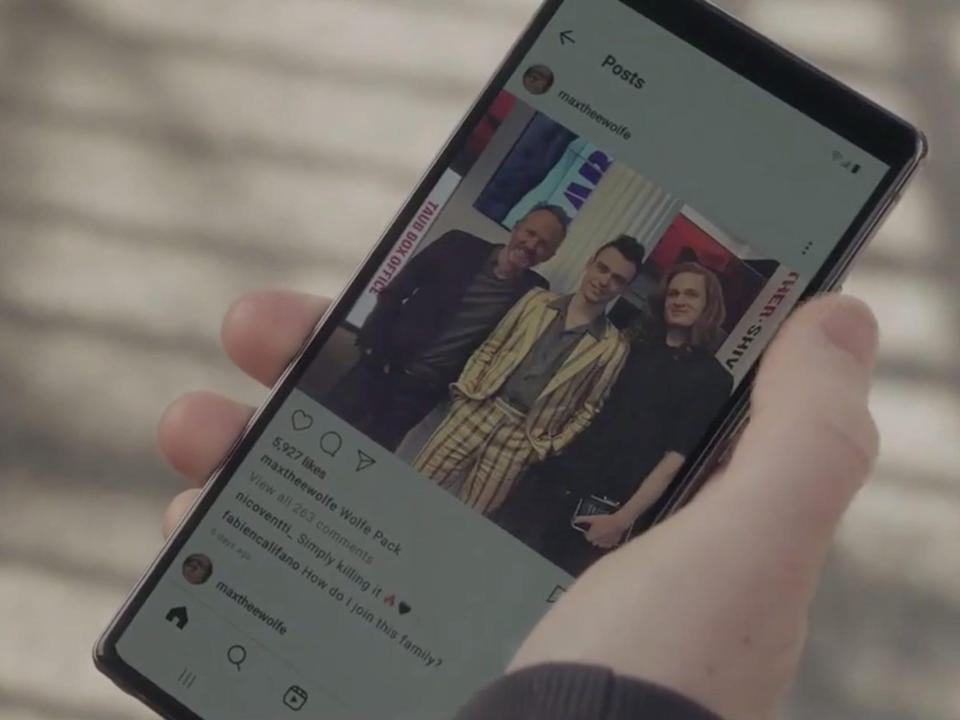"""An Instagram account for the """"Gossip Girl"""" character Max Wolfe pulled up on a smartphone on episode four of the show."""