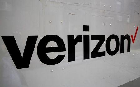 The Verizon logo is seen on the side of a truck in New York