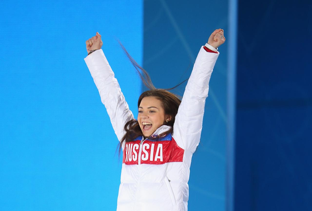 SOCHI, RUSSIA - FEBRUARY 21: Gold medalist Adelina Sotnikova of Russia celebrates during the medal ceremony for the Women's Free Figure Skating on day fourteen of the Sochi 2014 Winter Olympics at Medals Plaza on February 21, 2014 in Sochi, Russia. (Photo by Quinn Rooney/Getty Images)