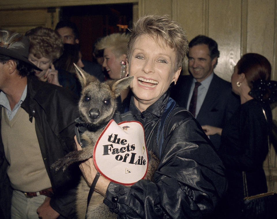 "FILE - Actress Cloris Leachman, a star in the TV series ""Facts of Life,"" hoists an Australian Wallaby by name of Skippy on Thursday Feb. 13, 1987, during a celebration at Chasen's in Beverly Hills of her 40 years in show business. Leachman, a character actor whose depth of talent brought her an Oscar for the ""The Last Picture Show"" and Emmys for her comedic work in ""The Mary Tyler Moore Show"" and other TV series, has died. She was 94. (AP Photo/Michael Tweed, FILE)"