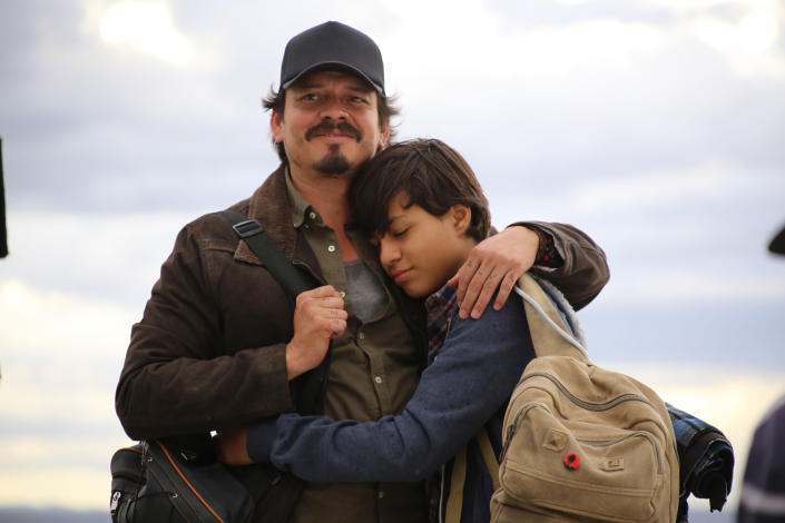 """This image released by IFC Films shows Jorge A. Jiménez, left, in a scene from """"No Man's Land."""" (IFC FIlms via AP)"""