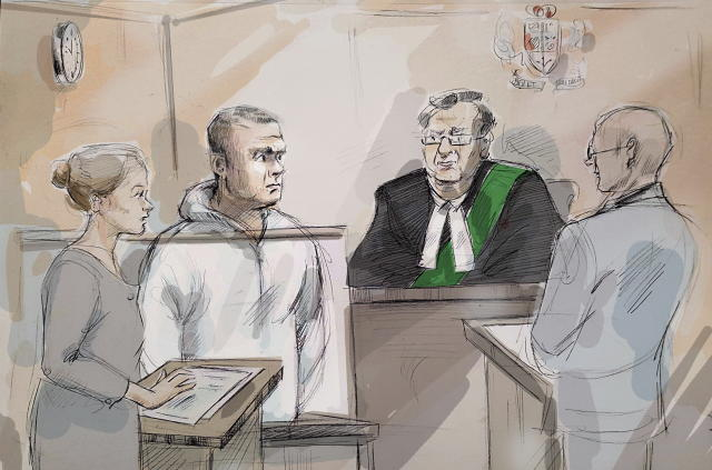<p>In this courtroom sketch, Duty counsel Georgia Koulis, from left, Alek Minassian, Justice of the Peace Stephen Waisberg and Crown prosecutor Joe Callaghan appear in court in Toronto on Tuesday, April 24, 2018. (Photo: Alexandra Newbould/The Canadian Press via AP) </p>
