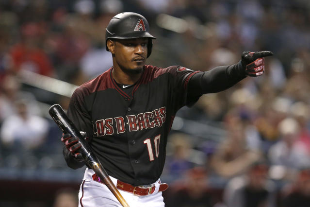 Arizona Diamondbacks' Adam Jones reacts after a called strike in the second inning during a baseball game against the Cincinnati Reds, Sunday, Sept. 15, 2019, in Phoenix. (AP Photo/Rick Scuteri)