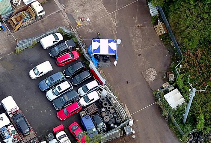 Aerial view of the scene in Dudley as police investigate a double murder. (SWNS)