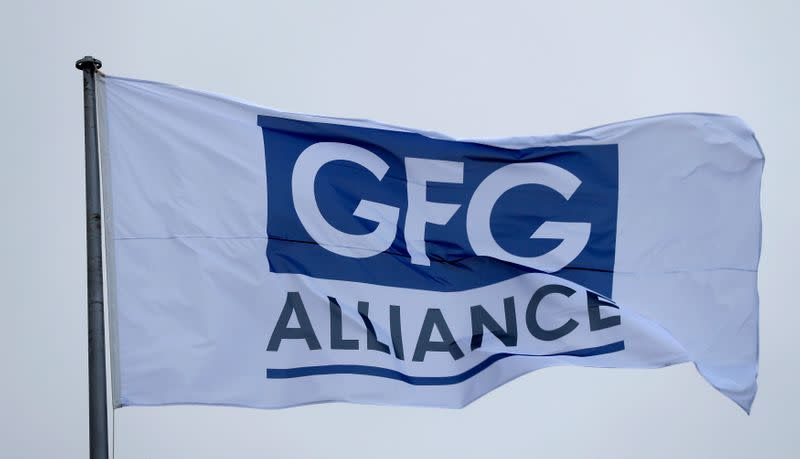 The GFG Alliance flag flies at the completion of a 330 million pound deal to buy Britain's last remaining Aluminium smelter in Fort William Lochaber Scotland