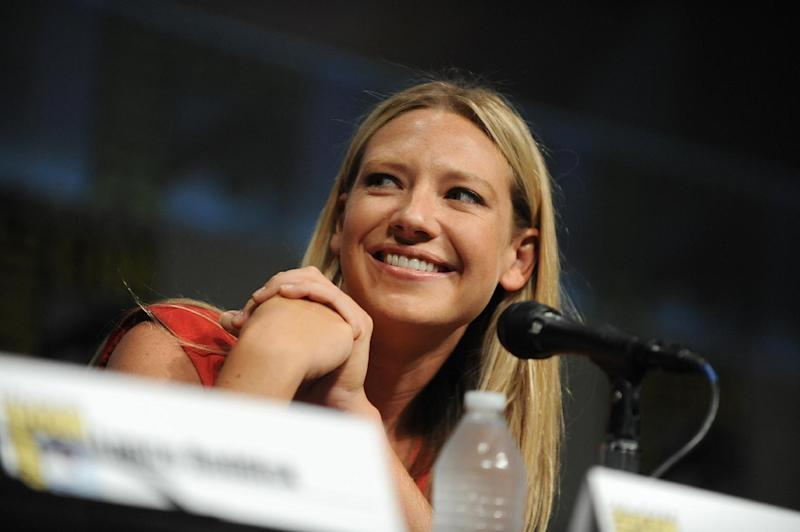 "Anna Torv speaks at the ""Fringe"" screening and panel at Comic-Con on Sunday, July 15, 2012, in San Diego. (Photo by Jordan Strauss/Invision/AP)"
