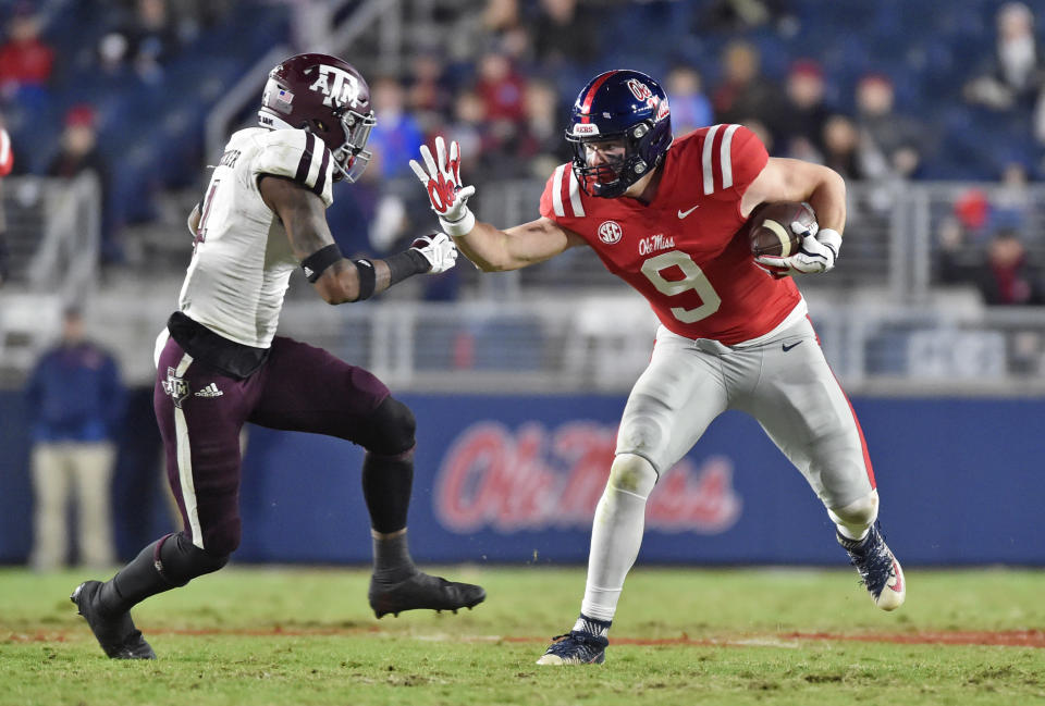 Ole Miss tight end Dawson Knox (9) had some eye-opening moments in college but never caught a TD pass with the Rebels. (Photo by Austin McAfee/Icon Sportswire via Getty Images)
