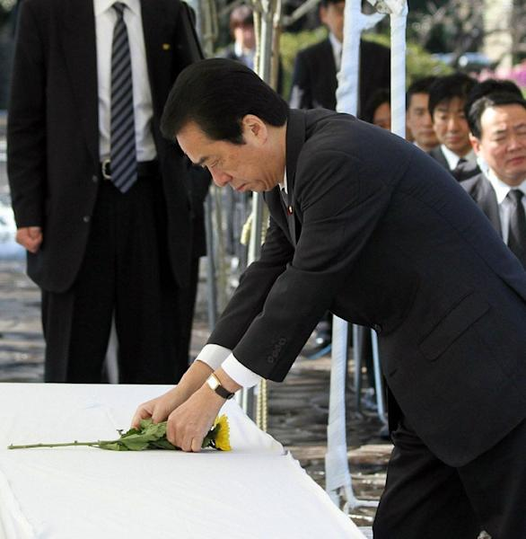 Former Japanese Prime Minister Naoto Kan is pictured at the Chidorigafuchi cemetery for the war dead in Tokyo on February 15, 2011. Kan launched a three-year project in 2010 to find remains on Iwoto island, the site of one of bloodiest battles at the end of the war