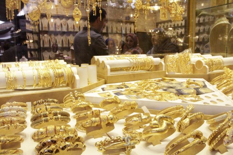 Gold jewellery is seen displayed for sale at a shop in a gold market in Basra, southeast of Baghdad