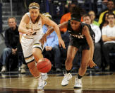 Notre Dame guard Hannah Huffman, left, slaps the ball away from Harvard guard Destiny Nunley in the first half of an NCAA college basketball game, Monday, Nov. 24, 2014, in South Bend, Ind. (AP Photo/Joe Raymond)