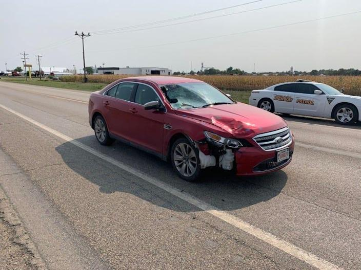 Attorney General Jason Ravnsborg's car is shown on Sept. 15, three days after a fatal crash in which Ravnsborg struck and killed pedestrian Joseph Boever, 55, of Highmore.