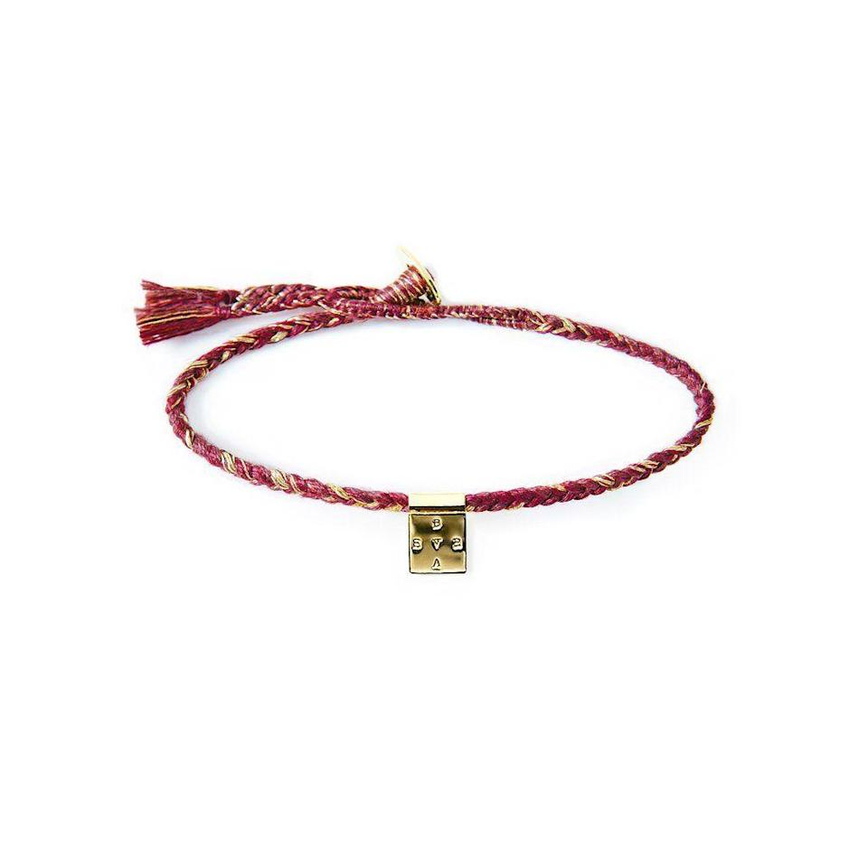 """<p><strong>The Brave Collection</strong></p><p>thebravecollection.com</p><p><strong>$45.00</strong></p><p><a href=""""https://thebravecollection.com/products/berry-metallic-square-bracelet"""" rel=""""nofollow noopener"""" target=""""_blank"""" data-ylk=""""slk:Shop Now"""" class=""""link rapid-noclick-resp"""">Shop Now</a></p><p>The letters inside the square spell out B-R-A-V-E in a clockwise pattern to symbolize an eternal cycle of—you guessed it—bravery. It's handmade in Cambodia by local artisans, and 10 percent of the company's profits are donated to fight human trafficking in the country.</p>"""
