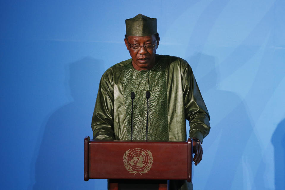 Chad's President Idriss Deby Itno addresses the Climate Action Summit in the United Nations General Assembly, at U.N. headquarters, Monday, Sept. 23, 2019. (AP Photo/Jason DeCrow)