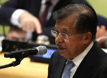Vice President Jusuf Kalla of Indonesia speaks during a high-level meeting on addressing large movements of refugees and migrants at the United Nations General Assembly in New York