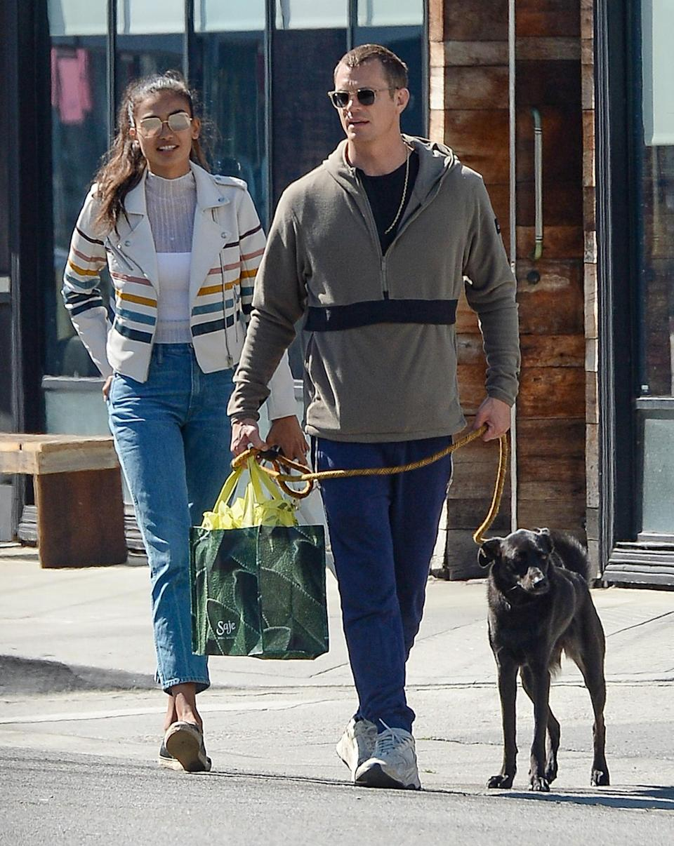 <p>Kelly Gale and Joel Kinnaman take their pup to go on a date in L.A. on Tuesday.</p>