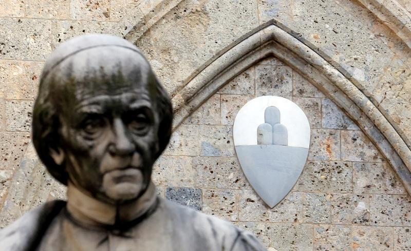 The Monte dei Paschi di Siena bank logo is pictured at the bank's headquarters in Siena