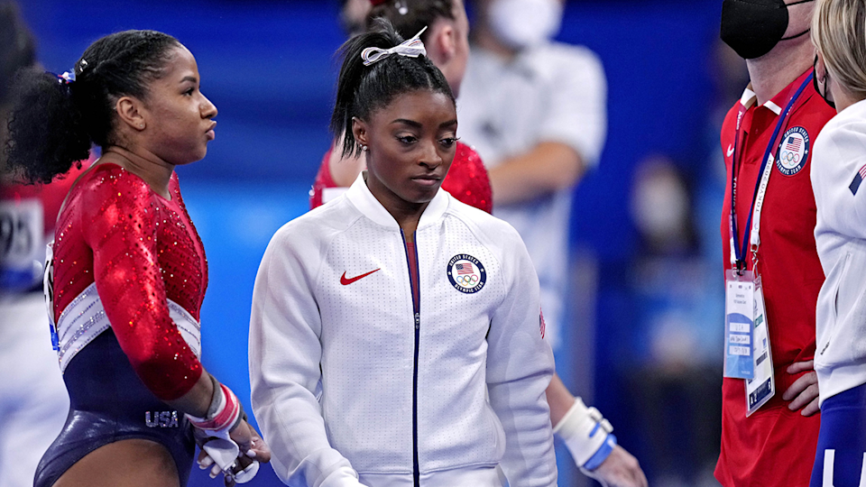 Simone Biles withdrew from the team event on Tuesday.