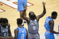 Brooklyn Nets guard James Harden (13) prepares to start prior to the first half of an NBA basketball game against the Houston Rockets Wednesday, March 3, 2021, in Houston. (Mark Mulligan/Houston Chronicle via AP)