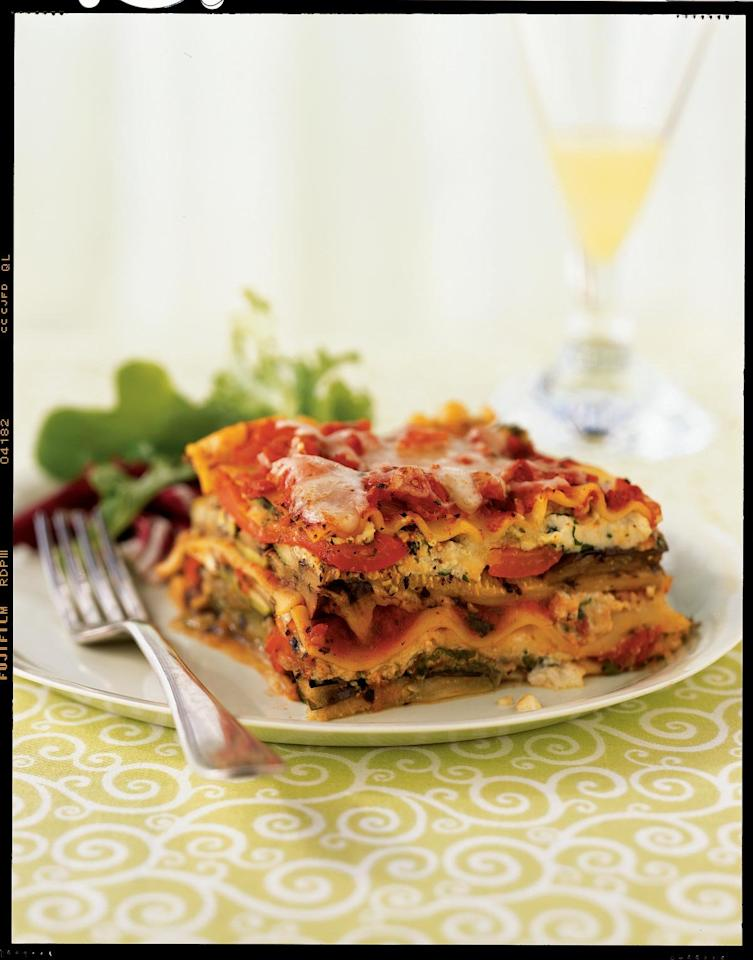 """<p>Grilling the vegetables deepens their flavors, which makes for a delicious vegetarian entrée. To speed preparation, use no-boil lasagna noodles; the baking time remains the same.</p> <p> <a href=""""http://www.myrecipes.com/recipe/grilled-vegetable-lasagna"""">View Recipe: Grilled Vegetable Lasagna</a></p>"""