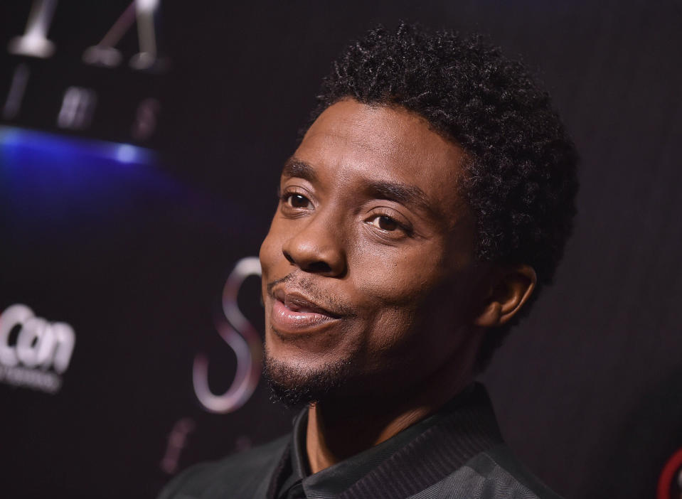 """Photo by: KGC-11/STAR MAX/IPx 2020 8/29/20 Chadwick Boseman, star of 'The Black Panther', has passed away at at 43 of Colon Cancer. STAR MAX File Photo: 4/2/19 Chadwick Boseman at the STX Films presentation of """"The State Of The Industry: Past, Present and Future"""" during CinemaCon 2019 at Caesars Palace Hotel and Casino in Las Vegas, Nevada.p"""