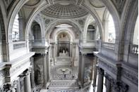 """<p>Commissioned by King Louis XV, who intended for it to be a church dedicated to Saint Genevieve, the patron saint of Paris, and designed by architect Jacques-Germain Soufflot, <a href=""""http://www.paris-pantheon.fr/en/"""" rel=""""nofollow noopener"""" target=""""_blank"""" data-ylk=""""slk:this Latin Quarter monument"""" class=""""link rapid-noclick-resp"""">this Latin Quarter monument</a> was built between 1758 and 1790. </p><p>In 1791, during the French Revolution, the French National Assembly voted to transform the Church of Saint Genevieve into a mausoleum for the remains of distinguished French citizens modeled after the Roman Pantheon, which had been used for such since the 16th century. The Pantheon's dome, which features neoclassical coffers, is constructed of stone; its facade and peristyle, modeled after a Greek temple and featuring Corinthian columns and sculpture by David d'Angers, were completed in 1837.</p><p>Among those buried in its necropolis are Voltaire, Rousseau, Victor Hugo, Émile Zola, Jean Moulin, Louis Braille, Jean Jaurès, and Soufflot.</p>"""