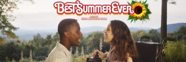 """""""Best Summer Ever"""" -- poster of a couple looking at each other. The woman uses a wheelchair."""