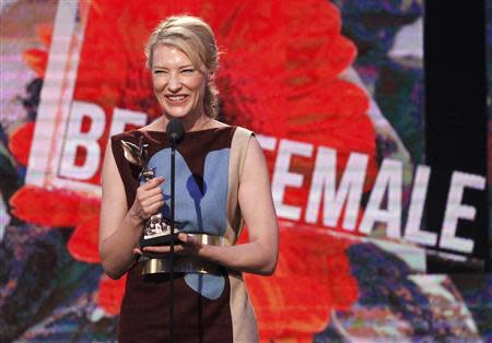 "Actress Cate Blanchett accepts the award for best female lead for her performance in the film ""Blue Jasmine"" at the 2014 Film Independent Spirit Awards in Santa Monica, California March 1, 2014. REUTERS/Robert Galbraith"