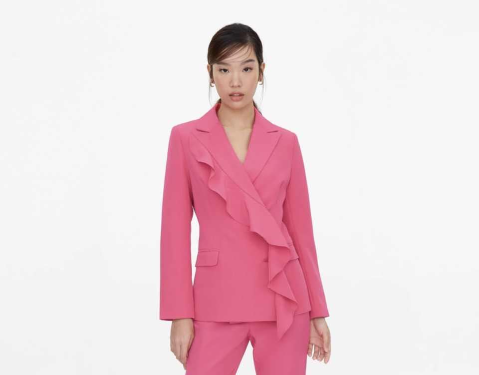 Pomelo Ruffled Blazer in Pink. (PHOTO: Pomelo)