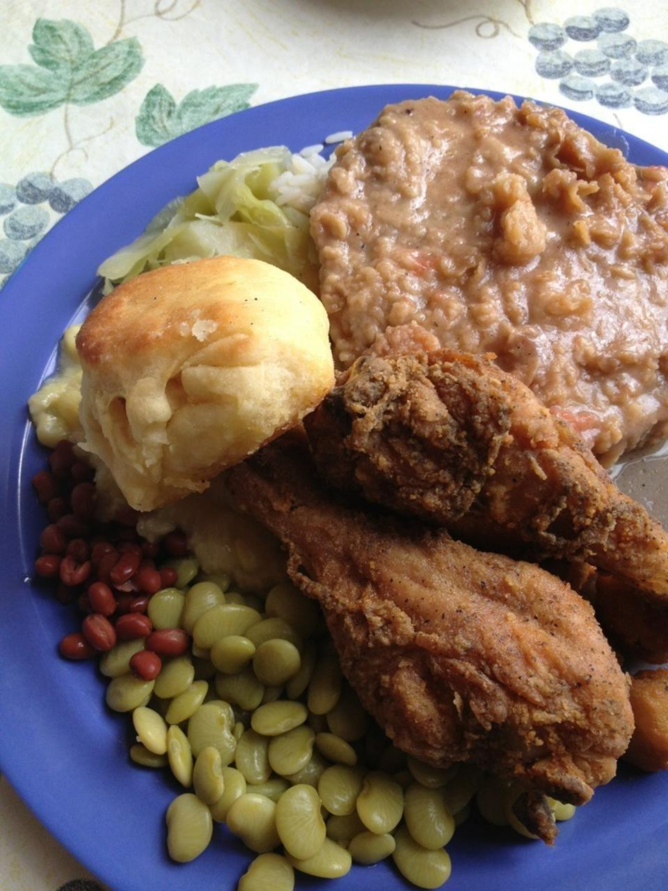 """<p><a href=""""https://www.tripadvisor.com/Restaurant_Review-g43833-d419334-Reviews-Two_Sister_s_Kitchen-Jackson_Mississippi.html"""" rel=""""nofollow noopener"""" target=""""_blank"""" data-ylk=""""slk:Two Sisters' Kitchen"""" class=""""link rapid-noclick-resp"""">Two Sisters' Kitchen</a>, Jackson</p><p>The fried chicken was hot, delicious, and not greasy. Excellent! The vegetables and the yeast roll were as good as any Mama ever prepared.<span class=""""redactor-invisible-space""""> - Foursquare user <a href=""""https://foursquare.com/user/38965293"""" rel=""""nofollow noopener"""" target=""""_blank"""" data-ylk=""""slk:Robbie Endris"""" class=""""link rapid-noclick-resp"""">Robbie Endris</a></span><br></p>"""