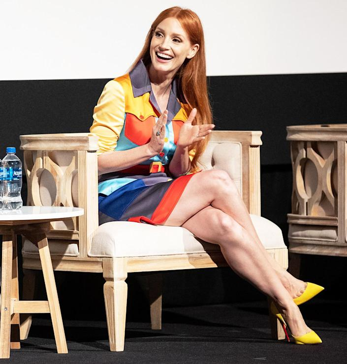 <p>Jessica Chastain stands out at the 2021 TIFF Tribute Awards press conference in Toronto.</p>