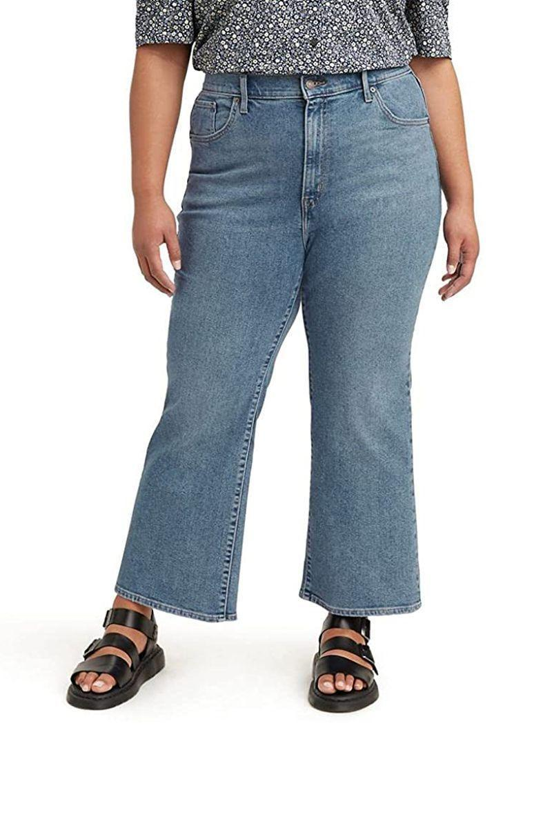 """<p><strong>Levi's</strong></p><p>amazon.com</p><p><strong>$48.65</strong></p><p><a href=""""https://www.amazon.com/dp/B08NV55QLZ?tag=syn-yahoo-20&ascsubtag=%5Bartid%7C10056.g.37331732%5Bsrc%7Cyahoo-us"""" rel=""""nofollow noopener"""" target=""""_blank"""" data-ylk=""""slk:Shop Now"""" class=""""link rapid-noclick-resp"""">Shop Now</a></p><p>Chic crop flare? Check. Inclusive sizing? Check. Levi's denim made with less water—and better sustainability practices? Check. </p>"""