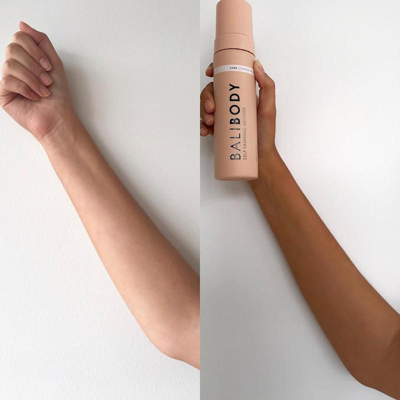 Fake tan before and after