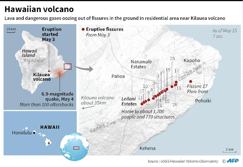 Map locating new fissures that have opened up near Hawaii's Kilauea volcano