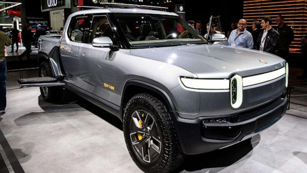 PHOTO: A Rivian R1T pickup truck is seen at the New York International Auto Show at the Jacob K. Javits Convention Center in New York, April 17, 2019. (LightRocket via Getty Images)