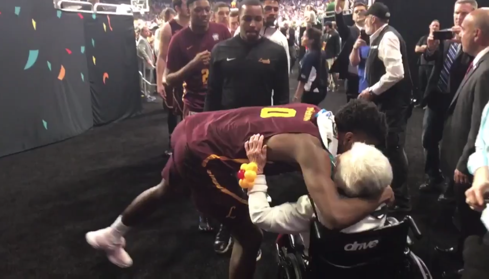 Loyola senior Donte Ingram hugs Sister Jean. (Screenshot: @RyanBakerMedia on Twitter)