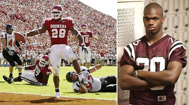 Peterson rolled over Big 12 opponents as a freshman (left). He said he was ready for the NFL after his senior season in high school (right). | Brian Bahr/Getty Images; Tom Worner/Tyler Morning Telegraph/AP
