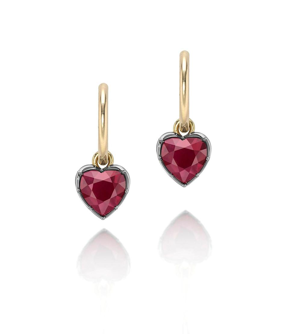 """<p><a class=""""link rapid-noclick-resp"""" href=""""https://www.jessicamccormack.com/signature-ruby-gypset-heart-shaped-hoop-earrings"""" rel=""""nofollow noopener"""" target=""""_blank"""" data-ylk=""""slk:SHOP NOW"""">SHOP NOW </a></p><p>Jessica McCormack's luxurious ruby hoop earrings are actually comfortable enough to wear every single day (you can even sleep in them). </p><p>Ruby and gold hoop earrings, £5,500,<a href=""""https://www.jessicamccormack.com/"""" rel=""""nofollow noopener"""" target=""""_blank"""" data-ylk=""""slk:Jessica McCormack"""" class=""""link rapid-noclick-resp""""> Jessica McCormack</a>.</p>"""