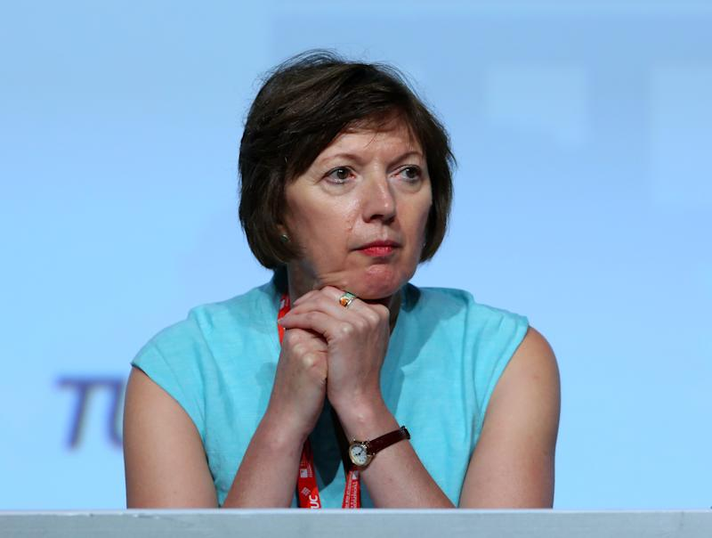 Frances O'Grady, General Secretary of the TUC, listens to a speech at the annual TUC Congress in Brighton, East Sussex.