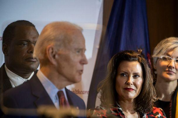 PHOTO: Former Vice President Joe Biden speaks as Michigan Governor Gretchen Whitmer looks on at an event at Cherry Health in Grand Rapids, Mich., March 9, 2020. (The Washington Post via Getty Images, FILE)