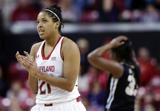 Maryland forward Tianna Hawkins applauds after Wake Forest was called for a foul in the second half of an NCAA college basketball game in College Park, Md., Sunday, March 3, 2013. Maryland won 88-61. (AP Photo/Patrick Semansky)