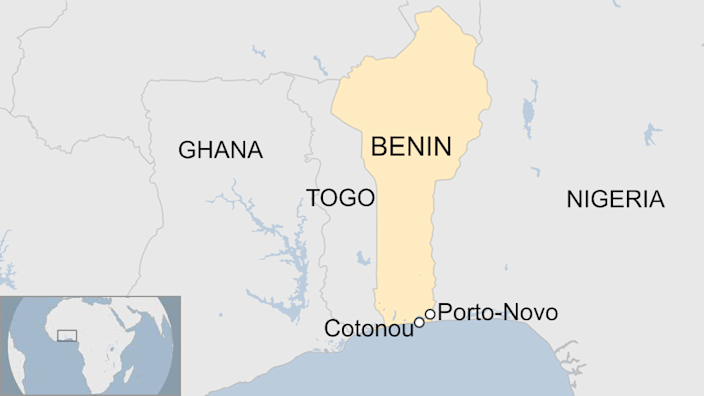 A map showing the locations of Cotonou and Porto-Novo in Benin.
